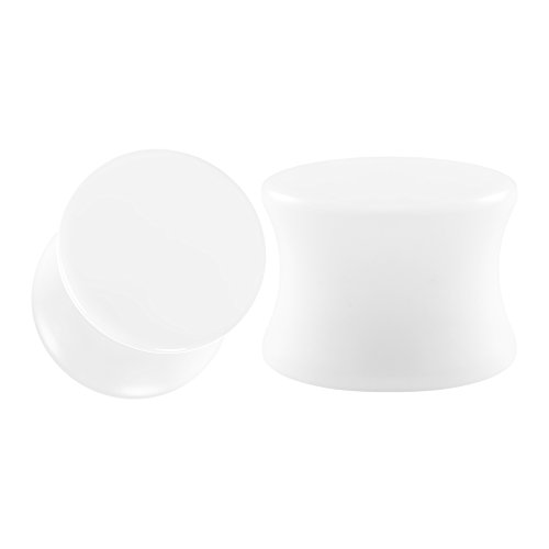 BIG GAUGES Pair White Acrylic 1/2 inch Gauge 12mm Double Flare Piercing Jewelry Ear Plug Stretcher Lobe Earring BG0439