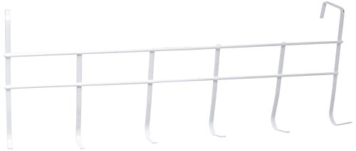 hooks Over The Door Home Office Bathroom Coat Towel WHITE 17 Inch Hanger Rack command wall 6
