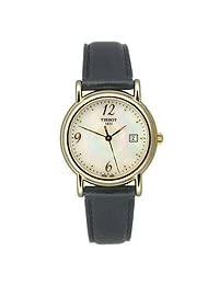 Tissot Carson Gold Black Leather Mother-of-Pearl Dial Women's Watch #T71.3.189.74