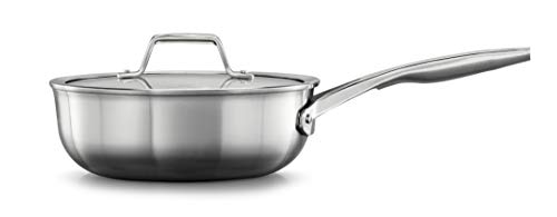 Calphalon 2029616 Premier Stainless Steel 3-Quart Chef's Pan with Cover, Silver