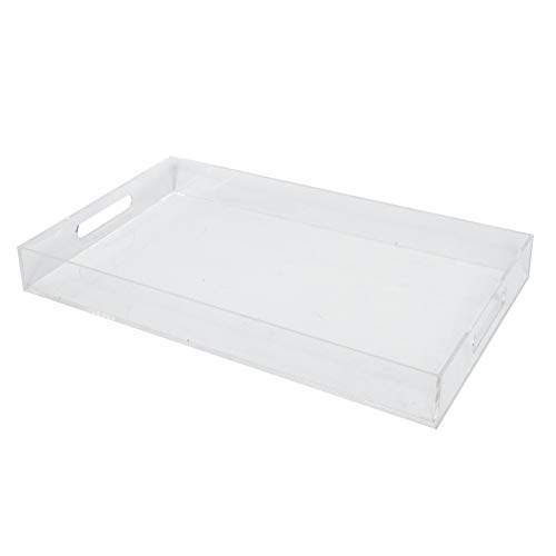 Sooyee Clear Serving Tray Spill Proof 12X20 Large Premium Rectangular Acrylic Tray Coffee Table, Breakfast, Tea, Food, Butler Decorative Display, Countertop, Kitchen, Vanity Serve Tray Hand ()