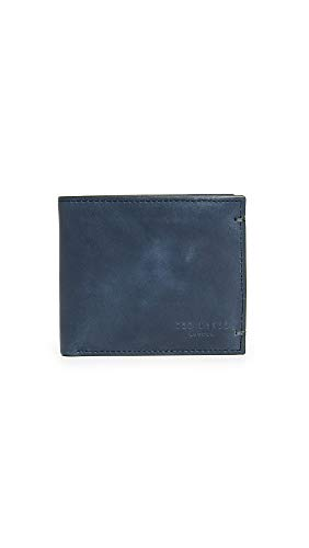 Ted Baker Men's Farthin Waxed Suede Bifold Wallet, Navy, Blue, One Size