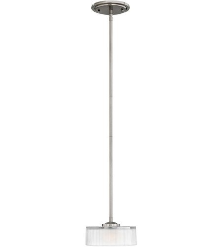 Mini Pendants 1 Light with Brushed Nickel Thick Faceted Clear Inside Etched Metal G9 8 inch 60 Watts