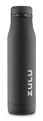 ZULU Ace 24oz Stainless Steel Water Bottle with Removable Base (Black)
