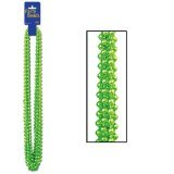Party Beads - Small Round (lt green)    (Green Mardi Gras Beads)