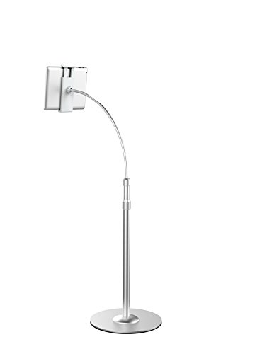 Mingo Labs UP-9S Heavy Duty Aluminum Alloy iPhone and iPad Adjustable Gooseneck Floor Stand, Silver by Mingo Labs