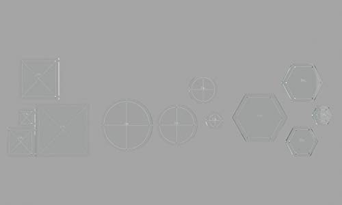 """Hexagon, Circle, and Square Acrylic Quilting Templates, 4"""", 3"""", 2"""", 1"""" with 1/4"""" Seam Allowance - 12 Pieces"""
