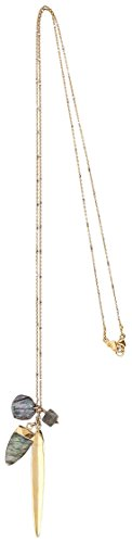 Chan Luu 18K Gold Plated Semi Precious Labradorite and Sphere Long Charm Necklace