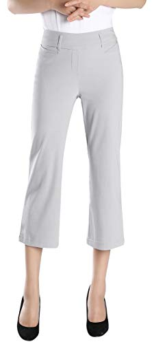Gray Capris - Foucome Women's Slimming Comfort Fit Pull On Capri Pant with Contoured Waistband and Belt Loops Gray