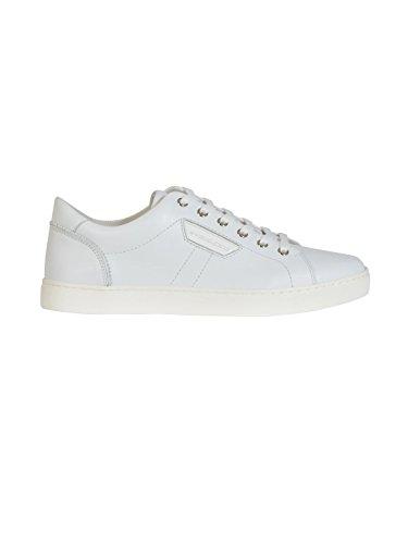 DOLCE E GABBANA MEN'S CS1362A344480001 WHITE LEATHER SNEAKERS - Gabbana Mens Leather