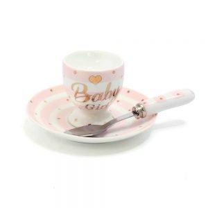 Baby Girl Christening Feeding Set - Baby Gift Set - Polka Dot Baby Feeding Set Baby Girl Feed Gift Set