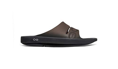 OOFOS Mens and Women Unisex Ooahh Sport Slide Sandal, Black/Brown, 10 B(M) US Women/8 D(M) US Men