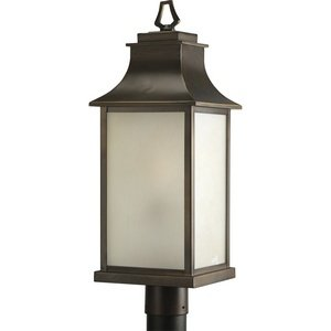 Progress Lighting P5453-108 Salute One Light Outdoor Post Lantern, Oil Rubbed Bronze Finish with Etched Umber Glass by Progress Lighting