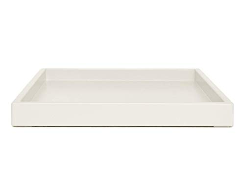 Pale Beige Bone Off White Coffee Table Ottoman Serving Tray without Handles Low Profile Shallow Decorative Butler Server Medium to Extra Large