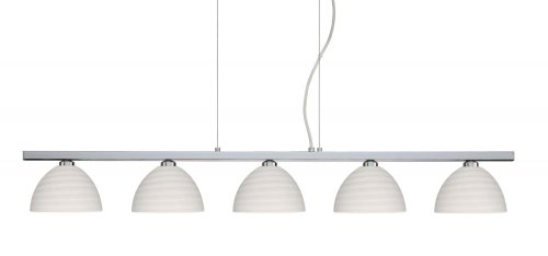 Besa Lighting 5LP-4679KR-PN 5X40W G9 Brella Pendant with Chalk Glass, Polished Nickel Finish