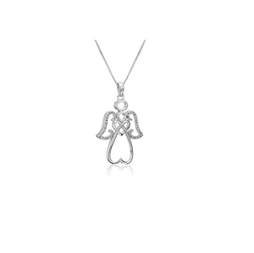 - Diamond Angel Pendant Necklace in Sterling Silver, 18