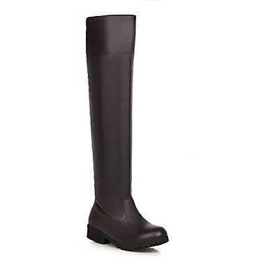 RTRY Zapatos de mujer polipiel invierno moda botas botas botas de combate puntera redonda sobre la rodilla botas para oficina informal &Amp; Carrera Negro Marrón US5.5 / EU36 / UK3.5 / CN35