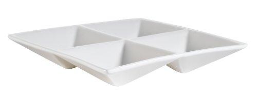 China Accessories - CAC China CMP-A7 Accessories 6-1/2-Inch New Bone White Porcelain 4-Compartment Square Dish, Box of 24