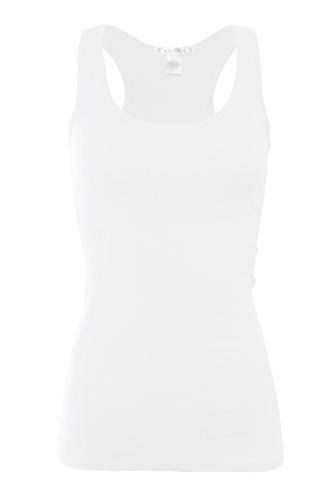 Bozzolo XT1777 Basic Cotton Spandex Racerback Tank Top White 3X -