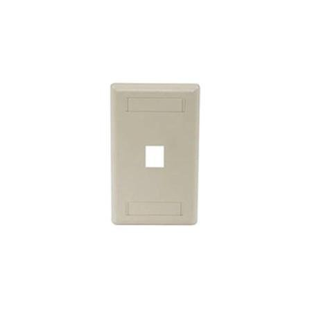 (Hubbell IFP11EI 1 Port Rear Loading Single Gang Faceplate, Electric Ivory)