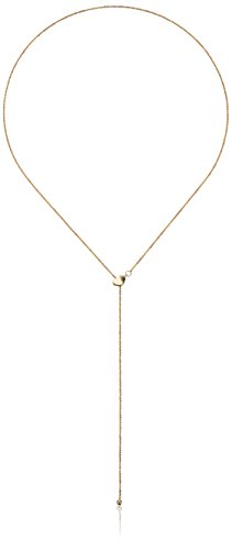14k Yellow Gold Adjustable Heart Lariat Sparkle Chain Y-Shaped Necklace, (Yellow Gold Sparkle)