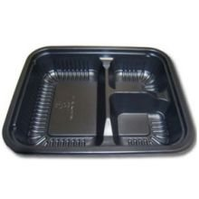 (D and W Fine Pack Talc Filled Polypropylene Ribbed Black 3 Compartment Oblong Plate, 24 Ounce - 250 per case.)