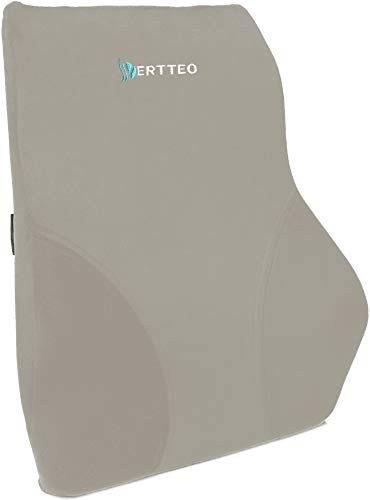 Vertteo Grey Limited Edition Full Lumbar Support - The Best Premium Entire Back Pillow for Office Desk Chair Car Seat and Sofa - Ergonomic 100% Memory Foam Reading Cushion Relieves Lower Sciatica Pain