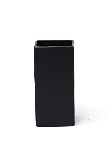 Serene Spaces Living Square Matte Black Ceramic Vase Modern Black Square Vase Adds a Sleek Look to Any Space, Use for Home Décor, Event Centerpieces and Much More, 3 SQ x 6 H