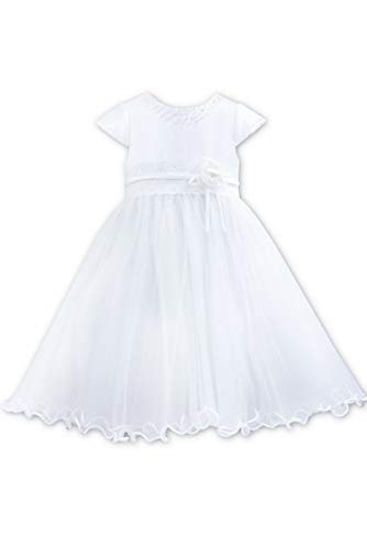 Sarah Louise 0070099 White Cap Sleeve Satin & Tulle (White, 12 Months) (Louise Communion Sarah Dresses)