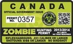 "Zombie Hunting Permit CANADA Decal 4"" x 2.4"" Outbreak Sticker"