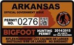 "Arkansas AR Bigfoot Hunting Permit 2.4"" x 4"" Decal Sticker"