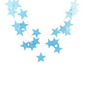 skoqjFQSen 4m Paper Star Christmas Tree Garland Wedding Party Banner Hanging Decoration - Blue