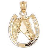 CleverEve 14K Gold Pendant Horseshoes 3.1 Grams