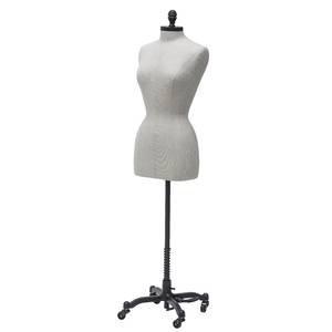 Female Linen Dress Form w/Neck Block & Base, Wheat