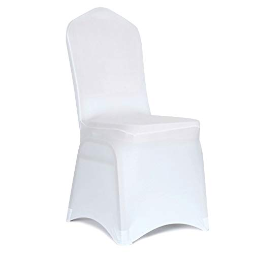 Obstal 10 PCS White Spandex Dining Room Chair Covers for Living Room - Universal Stretch Chair Slipcovers Protector for Wedding, Banquet, and Party (Dining Chair Covers White)