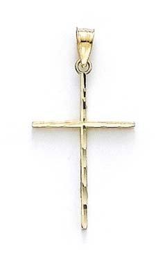 Taille moyenne 14 carats Diamant-Pendentif croix JewelryWeb