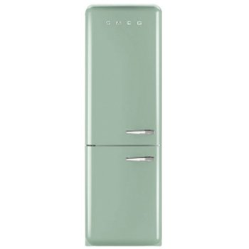 Smeg FAB32UPGLN 24″ 50's Retro Style Bottom Freezer Refrigerator with 10.74 cu. ft. Capacity No Frost Fast-Freezing Adjustable Glass Shelves and LED Interior Lighting: Pastel Green with Left