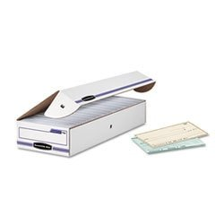 - Bankers Box - File Box - Fastfold Stor/file 60% Recycled Check/deposit Slip Storage Box, Flip-Top Closure, 4inh x 9inw x 24ind, White/blue - Box Stor/File Check Storage Boxes
