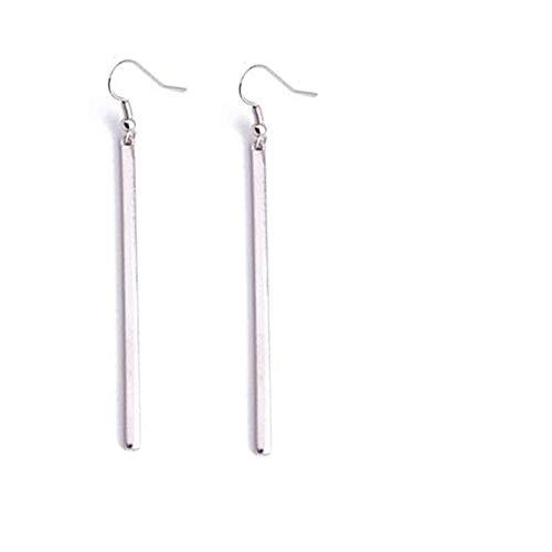 Dangle Jacket - Bar Dangle Threader Drop Earrings Tassel Ear Studs Women Long Linear Simple Hoops Geometric Charm Jewelry Silver Plated