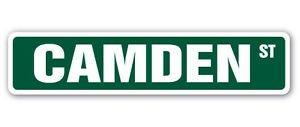 CAMDEN Street Sticker Sign name childrens room door gift New Jersey NJ boy girl - Accent Camden