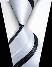 jacob alex #38806 Classic Necktie Black&White Striped WOVEN JACQUARD Silk Mens Suits Ties (Jacob Black Halloween)