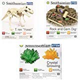 (Stem Science Kit Smithsonian Bundle with Dinosaur Fossils, Rock and Gem Dig, and Crystal Growing Kits)