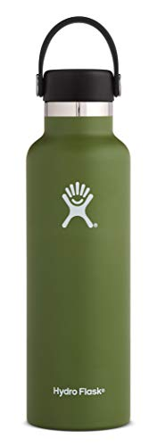 Hydro Flask 21 oz Water Bottle | Stainless Steel & Vacuum Insulated | Standard Mouth with Leak Proof Flex Cap | Olive