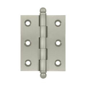"""Deltana CH2520 2-1/2"""" x 2"""" Solid Brass Cabinet Hinge with Ball Tip Finials, Satin Nickel"""