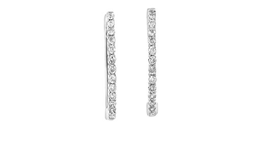 14K White Gold Diamond Hoop Earrings - Hoop White Diamond Gold 14k