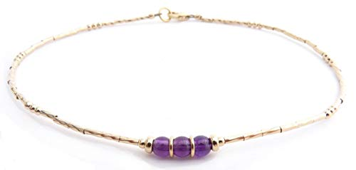 (DAMALI Handmade Minimalist Gold Fill Purple Amethyst Gemstone Beaded Anklets February)