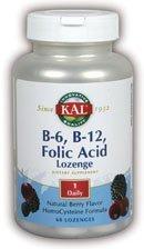 Mcg 50 Lozenges (KAL B-6, B-12 Folic Acid Lozenge, 50 mg/400 mcg/400 mcg, 60 Count)