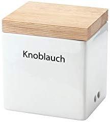 Continenta Vorratsdose mit Holzdeckel, WeißBraun, 14 x 12 x 15,5 cm