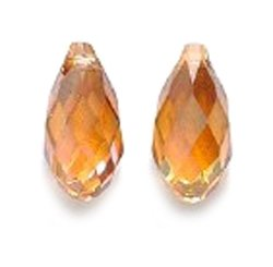 SWAROVSKI ELEMENTS 6010 Briolette Drop Beads, Crystal Effects, Copper, 5.5 by 11mm, 2 Per Pack