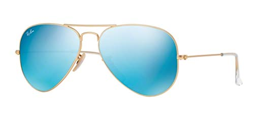 Ray-Ban RB3025 Aviator Large Metal Unisex Aviator Mirror Sunglasses (Matte Blue Frame/Crystal Green Mirror Blue Lens 112/17, 55) (Aviator Small Metal)